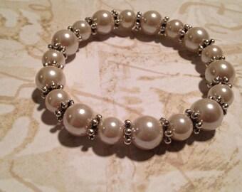 Pink blush pearl beaded stretchy bracelet