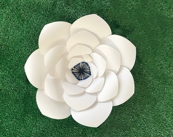 """Large White and Navy Paper Flower, Paper Anemone, 12"""" Paper Flower, Baby Shower, Nursery, Wedding Photo Backdrop, Chair Decoration"""