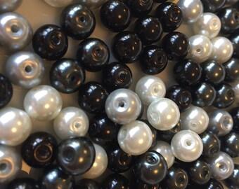 8mm Monochrome Glass Pearl Mix x 150
