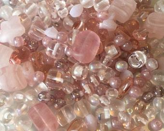 Pink Czech Glass Bead Mix 100g