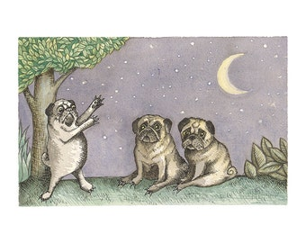 "Pug Art based on ""Where The Wild Things Are"" Children's Art - Picture Book - Kids Art - Children's Decor - Pug Print"