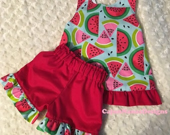 Watermelon Love toddlers play set, Spring play set, Summer play set, Ruffled shorts and top, Crisscross back play set.