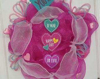 Pink mesh Valentine's Wreath