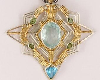 Aquamrine Star Compass Pendant