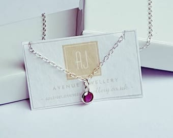 Real Ruby Pendant 0.22ct 4mm in 925 Sterling Silver