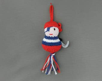 Crocheted amigurumi pirate, for a cool boy! Mascot, key hanger