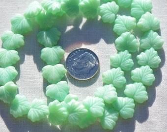10 Czech Glass 13x11mm Maple Leaf Beads - Mint Green Silk CRJ200500