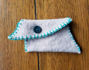 Wool bag with vintage button, hand stitched, asymmetric, upcycled