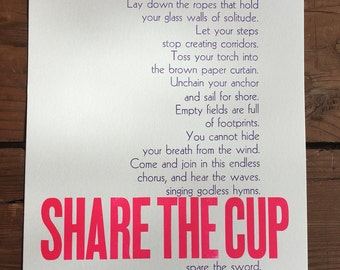 SHARE THE CUP Joey Casio song lyrics letterpress broadside