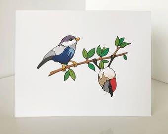 Thinking of You greeting card with cute birds