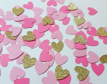 100 pcs Light Pink, Medium Pink, Gold/Silver Glitter Heart Confetti / Valentine's Day Confetti / Baby Shower / Bridal Shower / 1st Birthday