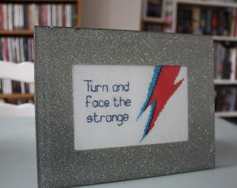 David Bowie- Changes lyrics cross stitch, framed cross stitch. Music lover gift. Completed cross stitch, gift for dad, fathers day,