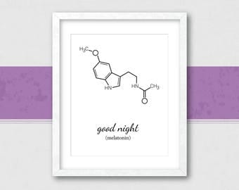 Melatonin Molecule | Melatonin Print | Molecule Print | Chemistry Wall Art | Science Poster | Melatonin | Instant Download