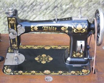 Antique 'White USA' c1900 Treadle Sewing Machine table top Bonnet Top Acorn Oak