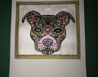 Hand painted silk Sugar Skull dog card
