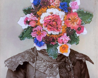 Collage  Print. Vintage Portrait. They Couldn't Believe How Much She Had Blossomed Recently.