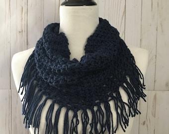 Crochet infinity scarf, Crochet Scarf, Cowl scarf, Infinity scarf, Women's scarf, Adult scarf, Crochet fringe scarf, Blue scarf