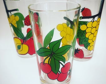 Trio of vintage glass tumblers - fruit design