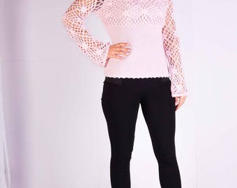 Womans pullover,Womans sweater,Crocheted pullover,Pink pullover,Size 16 UK