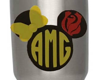 Beauty and the Beast Belle Inspired Monogram Decal for Yeti Cup