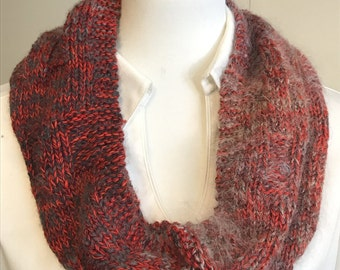 Infinity Cowl,  Red grey color, winter Scarf ,inspirational charm  creations4thejourney