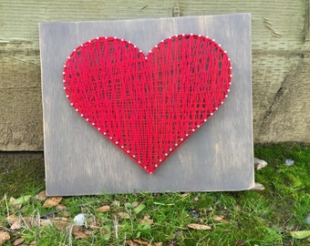 Red Heart String Art, Valentine's Day Decor, Wall Decor, Heart Wall Decor, Home Decor, Wood Heart