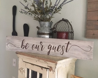 """36"""" Farmhouse Sign """"Be Our Guest"""" Sign with CUSTOMIZED Colors!"""