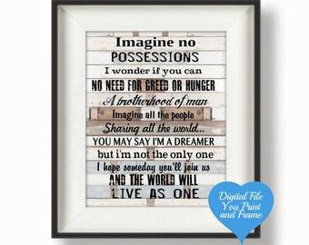 Imagine John Lennon Lyric Song Sign Wall Art Printable Digital Art Download Digital Sign You Print
