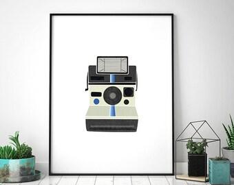 Retro Polaroid Print, Polaroid Camera, Retro Art, Retro Illustration, Scandinavian Art, Mid Century Print, Home Decor, Instant Download