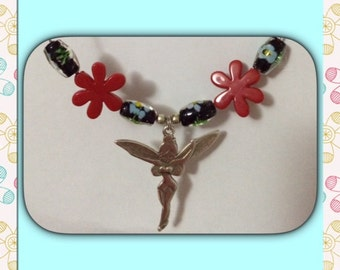 Tinkerbell flowers beads red collar.