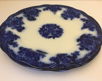 "Antique Flow Blue Waldorf  10"" Dinner Plate, New Wharf Pottery, England c. 1894"