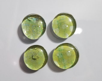 Set of 4 green glass stone magnets