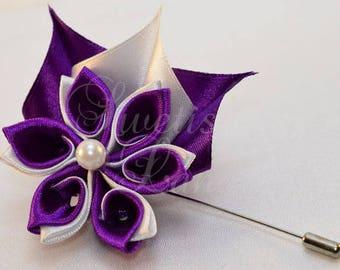 Boutonniere twisted, kanzashi satin flower, corsage, brooch, boutonniere, kanzashi, fabric flower