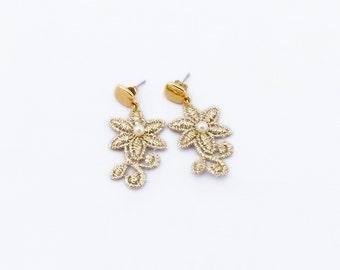 Earrings Small Flower and Swarovski Crystal