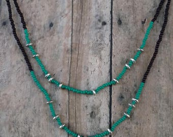 Gypsy double strand necklace made w/ dark crimson and turquoise beads {#127}