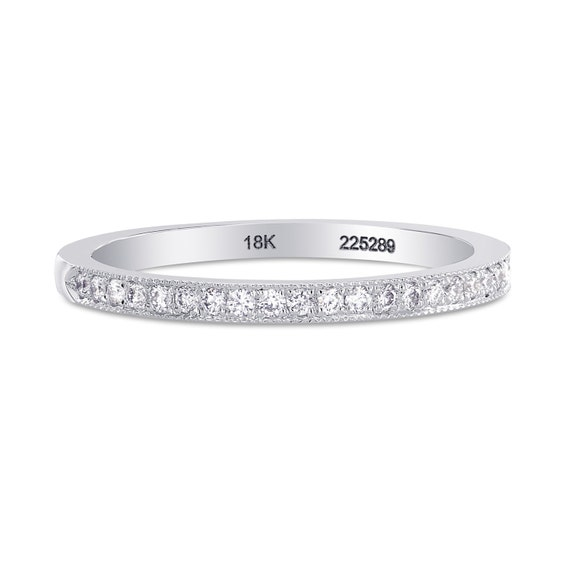 Diamond Wedding Ring with Milgrain Edge , Mounted in 18K white gold, white diamonds , 24 round diamonds, band ring ,gift for her sku: 225289
