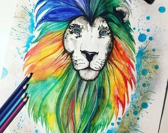 "Original watercolor ""Queen Lion"""