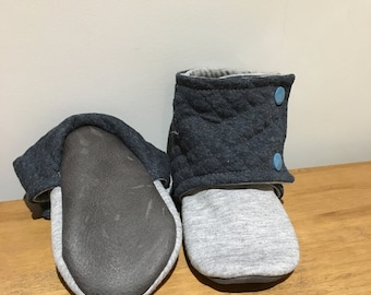 Grey Jersey Stay on Booties / Slippers