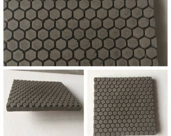Concrete coaster set featuring hexagon trivets