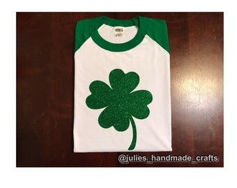 St Patrick's Day 4 Leaf Clover Glitter Shirt
