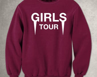 Girls Tour -  Maroon Crewneck - White Front - Sweatshirt - Pullover - Yeezus - Kanye - Free UK Delivery!