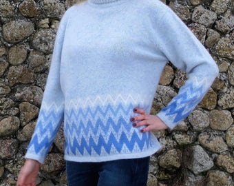 Vintage sweater hipster sweater nordic sweater scandinavian sweater wool jumper oversized sweater christmas sweater womens clothing blue