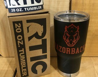 20 oz RTIC Powder Coated Black with Razorbacks