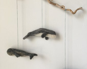 Needle Felted Whale Mobile