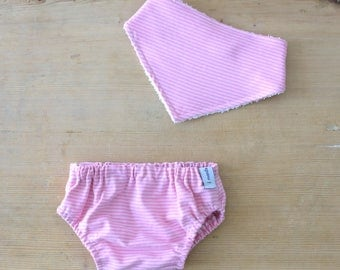 Panty diaper cover + Pink Stripes bandana bib