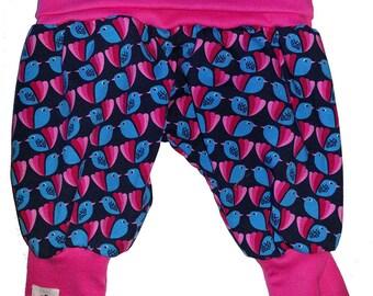 Harem pants with bird print