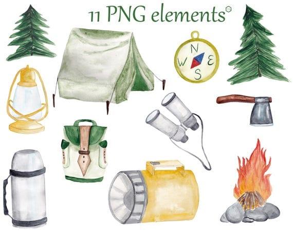 Watercolor Camping clip art Set, Summer outdoors ...