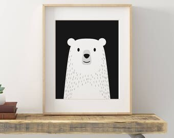 Nursery Bear Print, Cute Bear Art, White Bear Art Kids Room, Polar Bear Art Print, Baby Bear Print, Animal Art Print, Cute Animal Art Print
