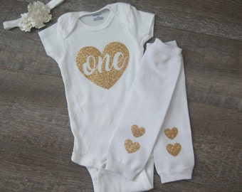 Bodysuit with Leg warmers and Headband 1st Birthday 12 Months Ready2Ship