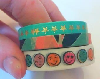 Gold Star, Emoji, and Abstract Shapes Washi Tape- set of 3